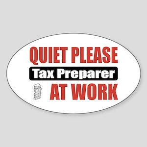 Tax Preparer Work Oval Sticker