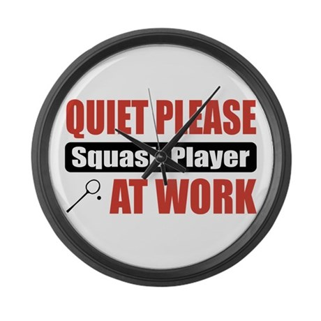 Squash Player Work Large Wall Clock