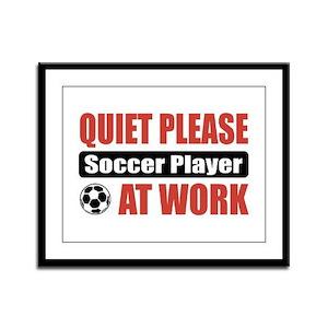 Soccer Player Work Framed Panel Print