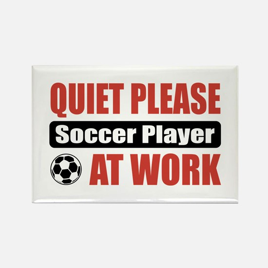 Soccer Player Work Rectangle Magnet