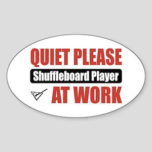 Shuffleboard Player Work Oval Sticker