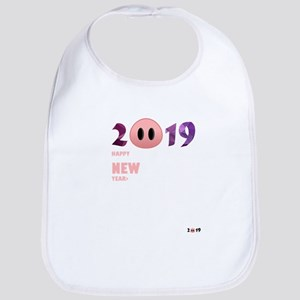 2019 Happy New Year Pig T Shirt Baby Bib