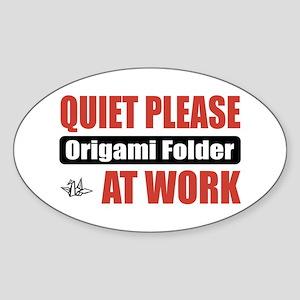 Origami Folder Work Oval Sticker