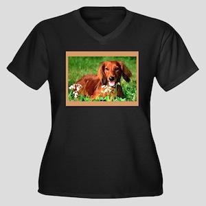Red Long Women's Plus Size V-Neck Dark T-Shirt