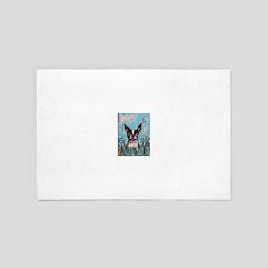 Boston Terrier butterfly 4' x 6' Rug