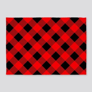 Buffalo Plaid Check Red and Black 5'x7'Area Rug