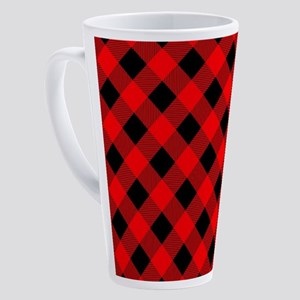 Buffalo Plaid Check Red and Black 17 oz Latte Mug