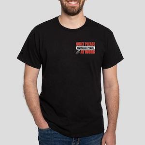 Harmonica Player Work Dark T-Shirt