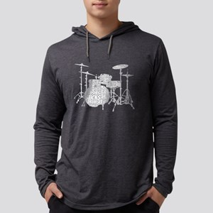 Drum Set Shaped Word Cloud Long Sleeve T-Shirt
