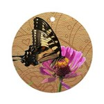 Swallowtail Doodlely Critter Round Ornament