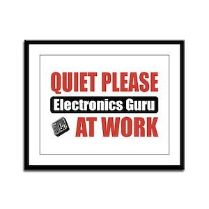 Electronics Guru Work Framed Panel Print