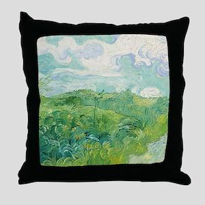 Van Gogh Green Wheat Field Throw Pillow
