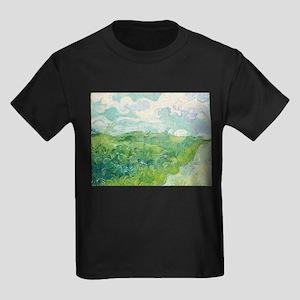 Van Gogh Green Wheat Field Kids Dark T-Shirt