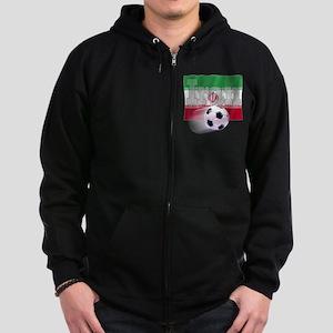 Soccer Flag Iran (B) Zip Hoodie (dark)