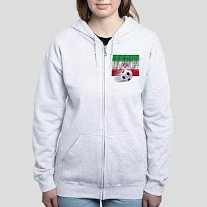 Soccer Flag Iran (Arabic) (B) Women's Zip Hoodie