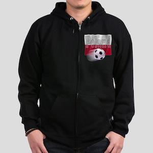 Soccer Flag Poland (B) Zip Hoodie (dark)