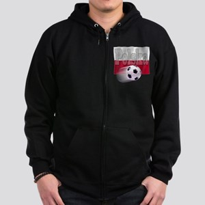 Soccer Flag Polska (B) Zip Hoodie (dark)