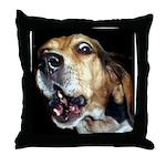 Crazy beagle Throw Pillow