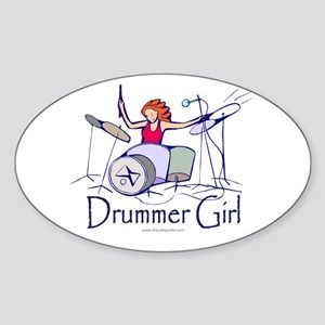 Drummer Girl Oval Sticker