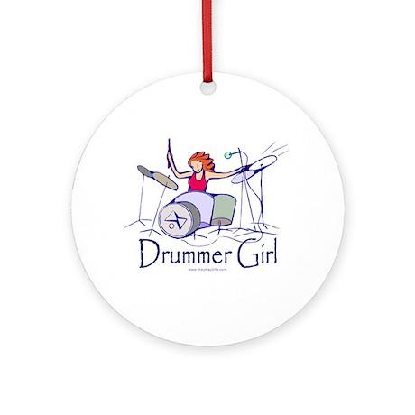 Drummer Girl Ornament (Round)