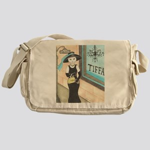 Breakfast at Tiffany's White Cat Messenger Bag