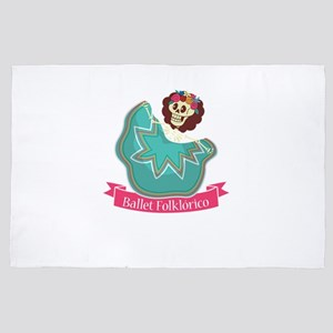 Ballet Folklorico Mexican Sugar Skull 4' x 6' Rug