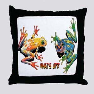 What's Up Frogs Throw Pillow