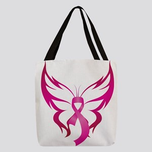 Pink Butterfly Ribbon Breast Ca Polyester Tote Bag