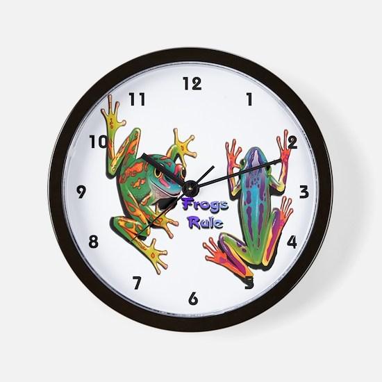 Frogs Rule Wall Clock