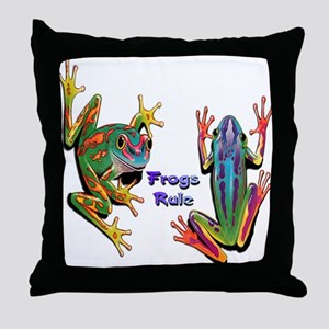 Frogs Rule Throw Pillow