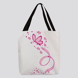 Pink Butterflies Ribbon Breast Polyester Tote Bag