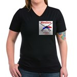 Pittsfield Cavaliers Women's V-Neck Dark T-Shirt