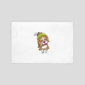 Halloween Beagle Dog Clown 4' x 6' Rug
