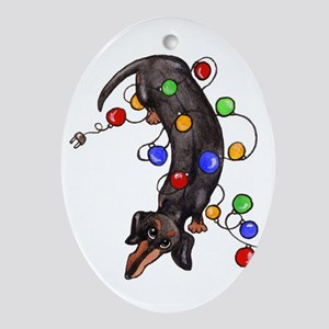 Black Tan Doxie in Lights Oval Ornament