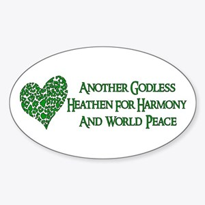 Godless For World Peace Oval Sticker