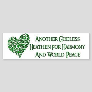 Godless Heathen For Peace Sticker (Bumper)