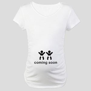 Coming Soon Twins Maternity T-Shirt