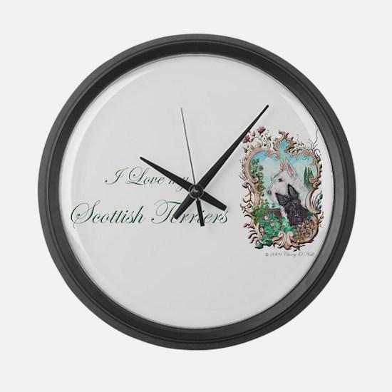 Love My Scotties Large Wall Clock