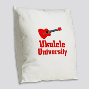 red ukulele Burlap Throw Pillow