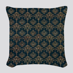 Navy Blue and Gold Glitter Design Woven Throw Pill