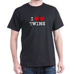 I (heart) (heart) TWINS Black T-Shirt