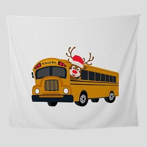 Rudolph Reindeer School Bus Driver Wall Tapestry