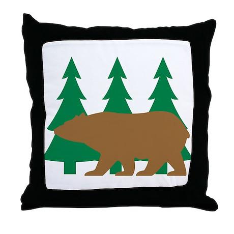 Brown Bear Cabin Throw Pillow