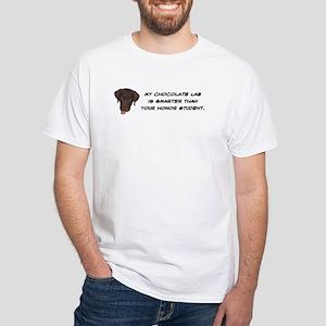 Smart Chocolate Labrador White T-Shirt