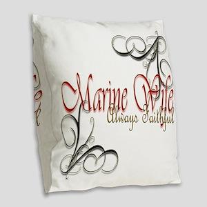 Swirl Marine Wife Burlap Throw Pillow
