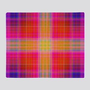 Neon Plaid Design Throw Blanket
