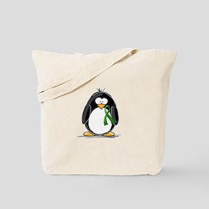 Green Ribbon Penguin Tote Bag