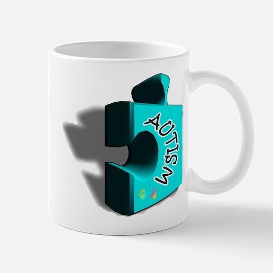 """3-D Autism Puzzle Piece"" Mug"