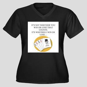 funny poker player joke Women's Plus Size V-Neck D