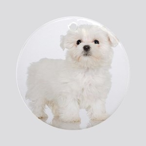 Maltese Puppy Ornament (Round)